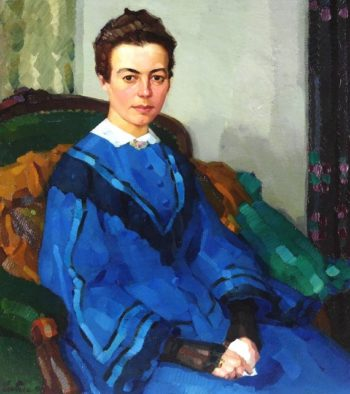 Portrait of a Lady in a Blue Dress | Leo Putz | oil painting