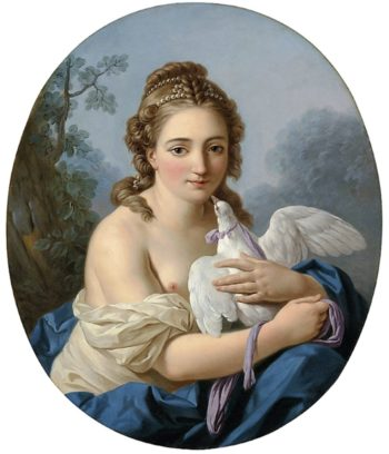 A Young Woman Holding a Dove | Louis Jean Francois Lagrenee | oil painting
