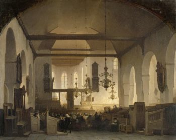 Interior of the Geertekerk in Utrecht with the celebration of the Lord's Supper. 1852 | Johannes Bosboom | oil painting
