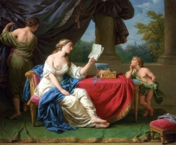 Penelope Reading a Letter from Odysseus | Louis Jean Francois Lagrenee | oil painting