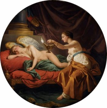 Psyche with Sleeping Cupid | Louis Jean Francois Lagrenee | oil painting
