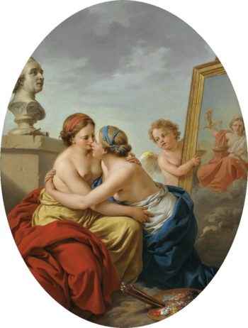 The Union of Painting and Sculpture   Louis Jean Francois Lagrenee   oil painting
