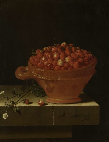 A test strawberries on a stone plinth. ca. 1696 | Adriaen Coorte | oil painting
