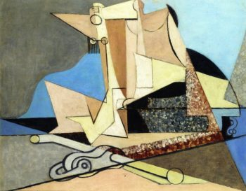 Figures and Marine Anchor | Louis Marcoussis | oil painting