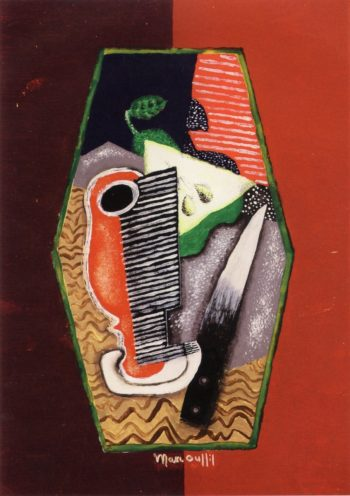 Green Pear and Knife | Louis Marcoussis | oil painting