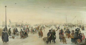 Enjoying the Ice near a Town. ca. 1620 | Hendrick Avercamp | oil painting