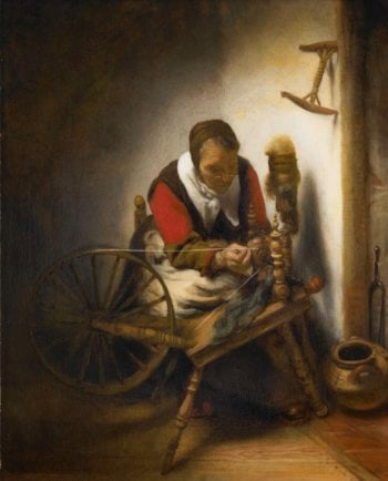 The spinster. 1652 - 1662   Nicolaes Maes   oil painting