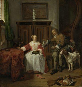 The Hunter's Present. ca. 1658 - ca. 1661   Gabri?l Metsu   oil painting