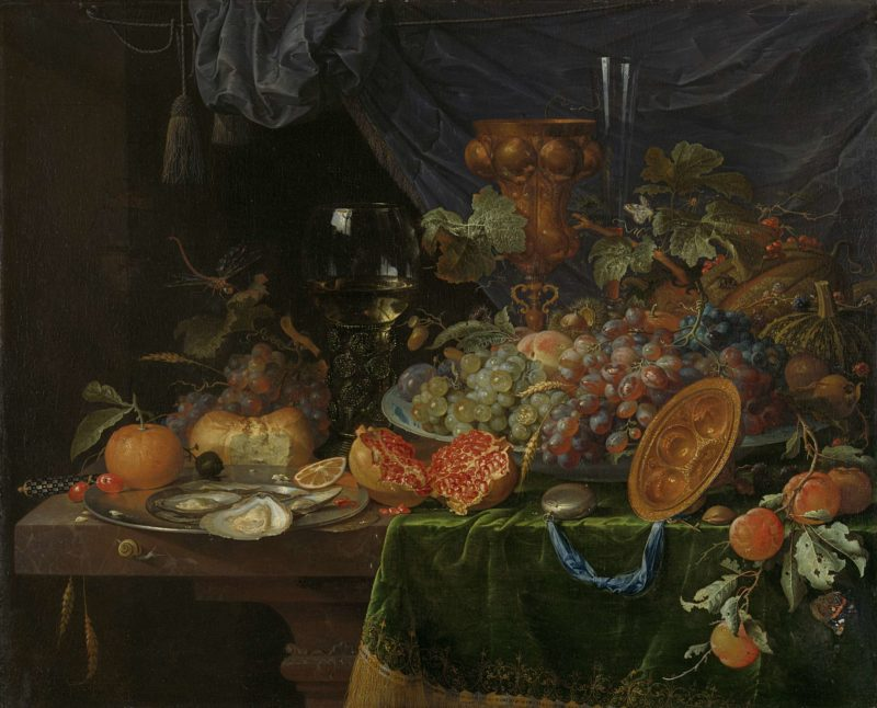 Still life with fruits and oysters. 1660 - 1679   Abraham Mignon   oil painting