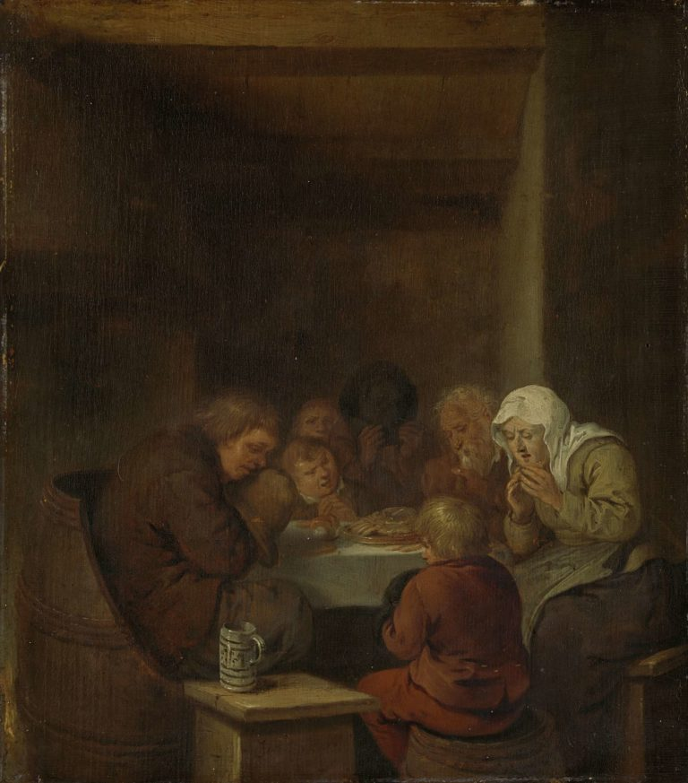 Prayer before the meal. 1640 - 1668 | Jan Miense Molenaer | oil painting