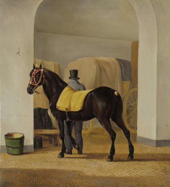 Adriaan van der Hoop's Trotter 'The Rot' at the Coach House. 1828 | Anthony Oberman | oil painting