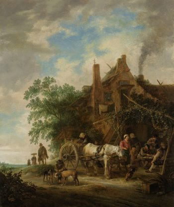 Country inn with horse and wagon. 1640 - 1649 | Isaac van Ostade | oil painting