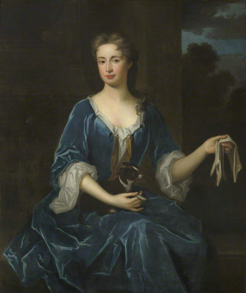 Portrait of an Unknown Lady Holding a Black and White Dog | Sir Godfrey Kneller | oil painting