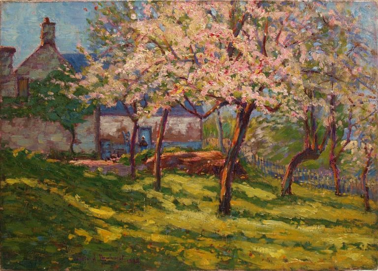 Blossoming apple trees in the garden of a Norman farmhouse | Maurice Braun | oil painting