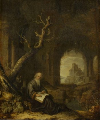 A hermit in a ruin. 1650 - 1668 | Jan Adriaensz. van Staveren | oil painting