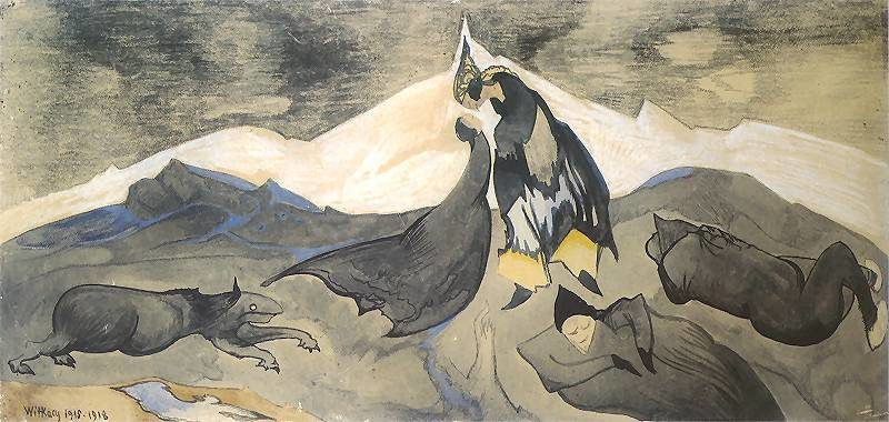 Kiss of the Mongol prince in an ice desert | Stanislaw Ignacy Witkiewicz | oil painting