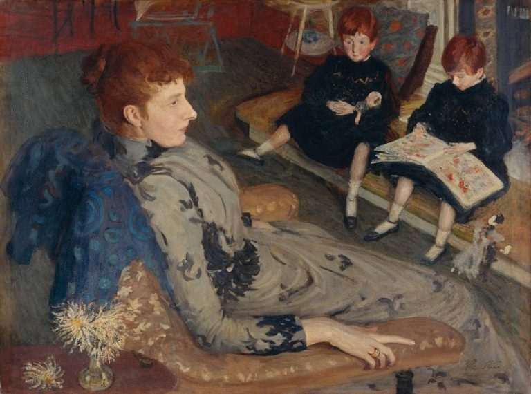 Mrs Cyprian Williams and her Two Little Girls | Philip Wilson Steer | oil painting