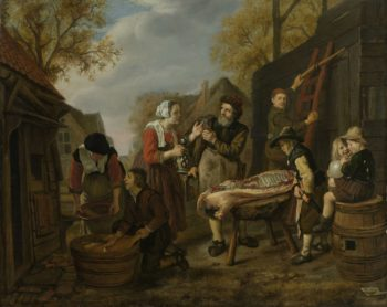 The pig slaughterhouse. 1648 | Jan Victors | oil painting