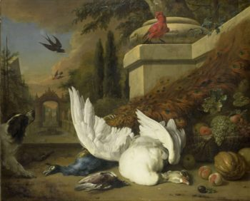 A dog with a dead goose and a peacock. ca. 1700 | Jan Weenix | oil painting