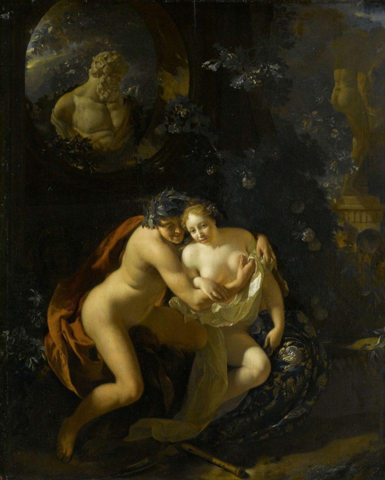 A Couple Making Love in a Park by Spy on Children. 1694 | Adriaen van der Werff | oil painting