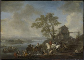 Paardenwed in a river. 1650 - 1668 | Philips Wouwerman | oil painting