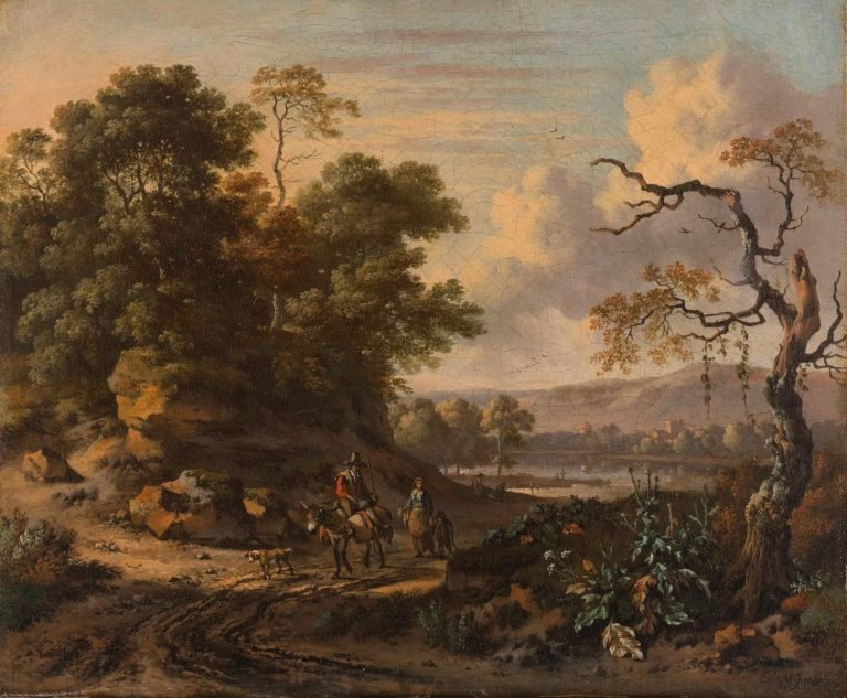 Landscape with donkey rider. 1655 - 1684 | Jan Wijnants | oil painting
