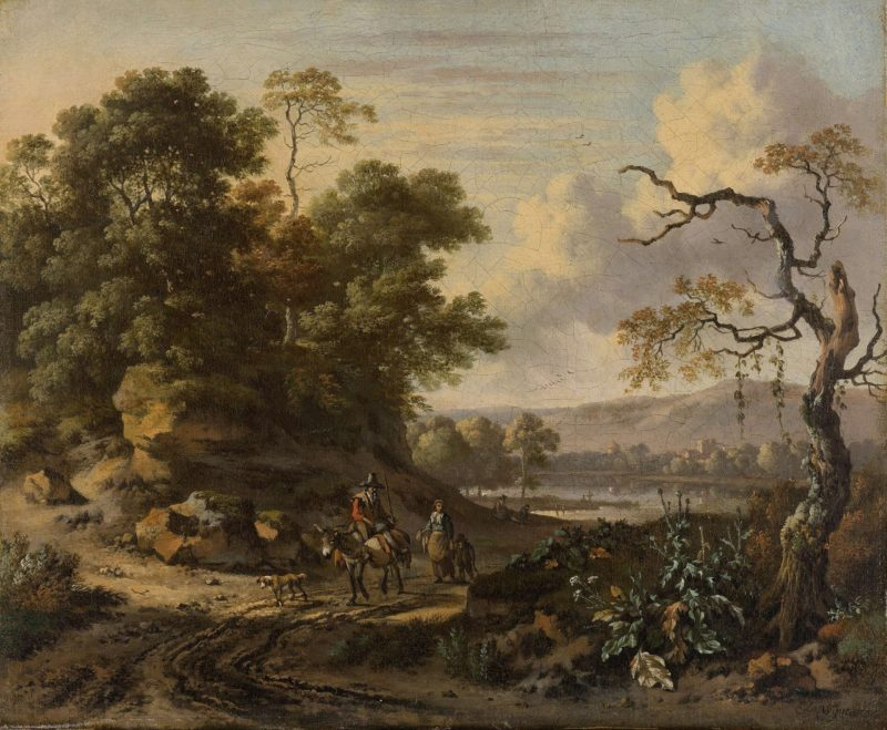 Landscape with donkey rider. 1655 - 1684   Jan Wijnants   oil painting