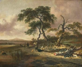 Landscape with peddler and resting woman. 1669 | Jan Wijnants | oil painting