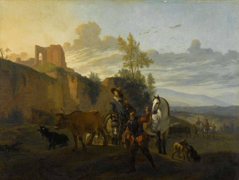 Italian landscape with soldiers. 1652 - 1700 | Karel Dujardin | oil painting