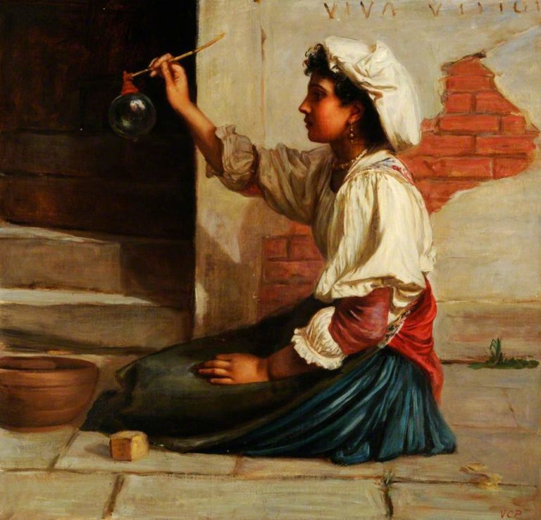Girl Blowing Soap Bubbles | Valentine Cameron Prinsep | oil painting
