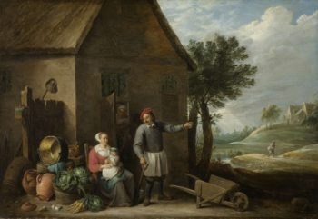 A farmer with his wife and child for the farm. 1640 - 1670 | David Teniers (II) | oil painting