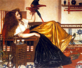 Reclining Woman with a Parrot | Valentine Cameron Prinsep | oil painting