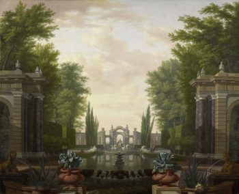 Infinity pool with statues and buildings in a park. 1700 - 1744 | Isaac de Moucheron | oil painting