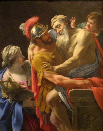 Aeneas and his Father Fleeing Troy | Simon Vouet | oil painting