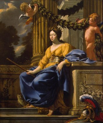 Allegorical Portrait of Anna of Austria as Minerva | Simon Vouet | oil painting