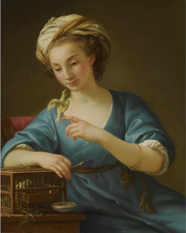 A Young Woman Dressed a la Grecque Holding a Canary on her Outstretched Finger | Joseph Marie Vien | oil painting