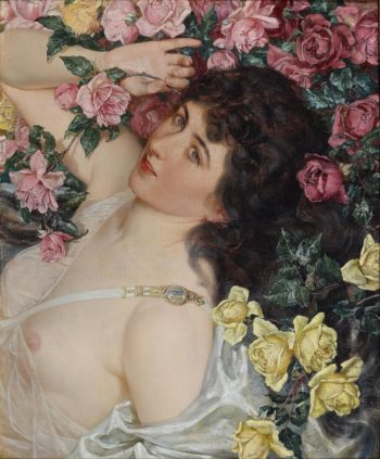 Among the Roses | Talbot Hughes | oil painting