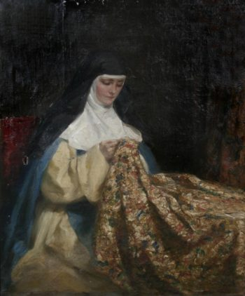 A nun embroidering fabric | Talbot Hughes | oil painting