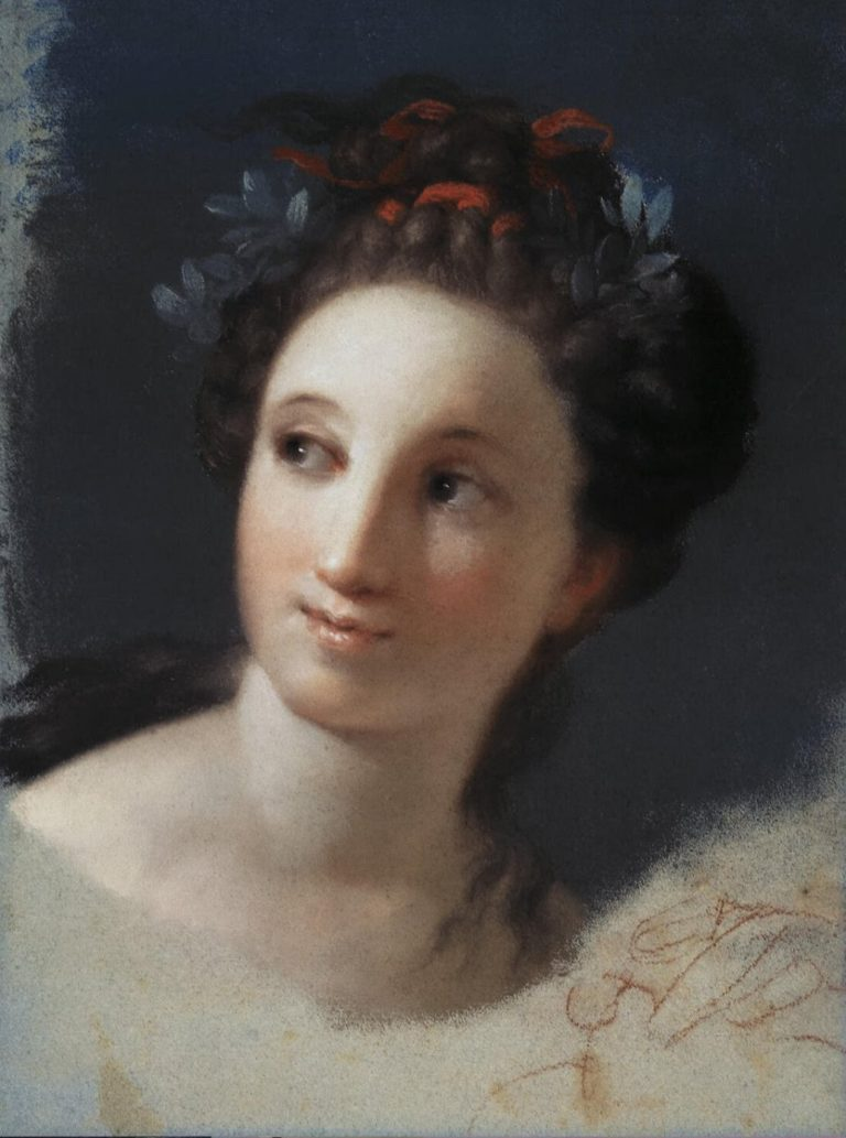 Female Head with a Ribbon and Laurels In the Hair | Rosalba Carriera | oil painting