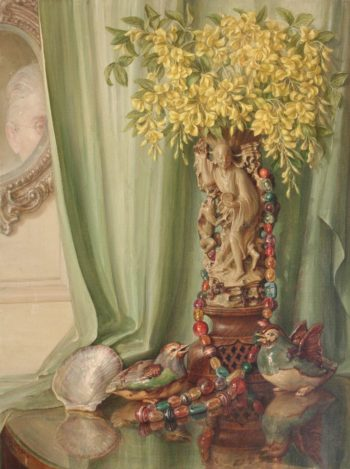 Still Life and self portrait | Talbot Hughes | oil painting
