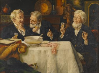 Three Men Dining | Talbot Hughes | oil painting