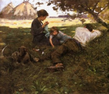 Family Resting under a Tree | Frederick Judd Waugh | oil painting