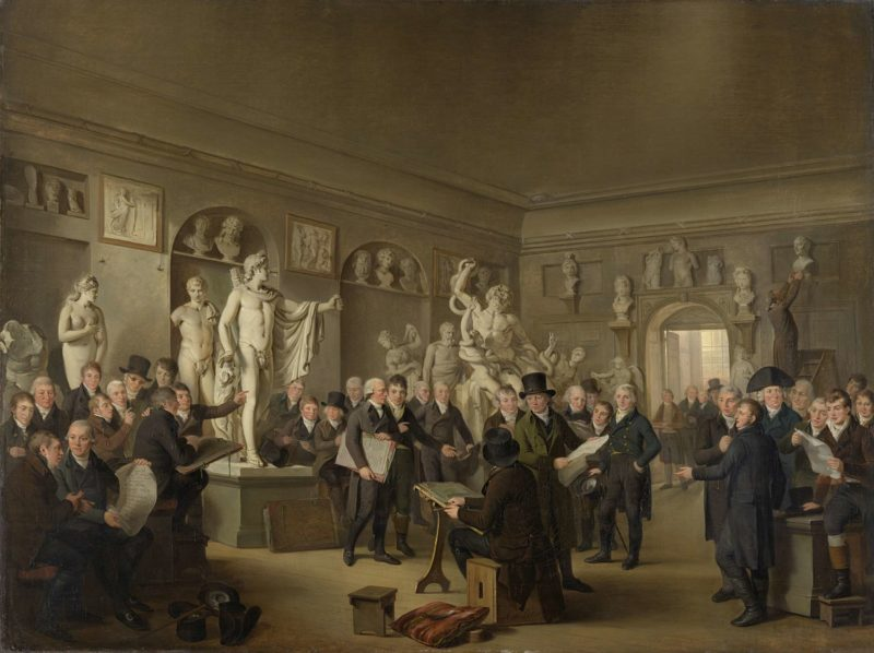 The Sculpture Gallery of the Felix Meritis Society. 1806 - 1809 | Adriaan de Lelie | oil painting
