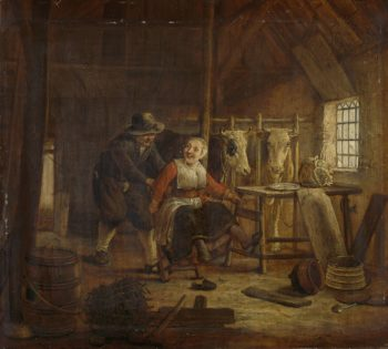 Courtship in a cowshed. 1645 - 1672 | Govert Dircksz. Camphuysen | oil painting
