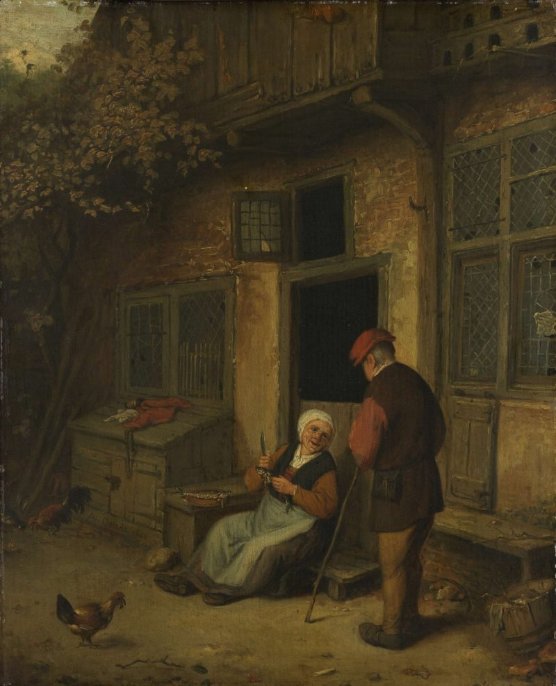 A woman herring cleaning for a house. ca. 1650 - ca. 1700 | Adriaen van Ostade | oil painting
