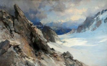 Snow Scene on the Col d Orny Valais Switzerland | Edward Theodore Compton | oil painting