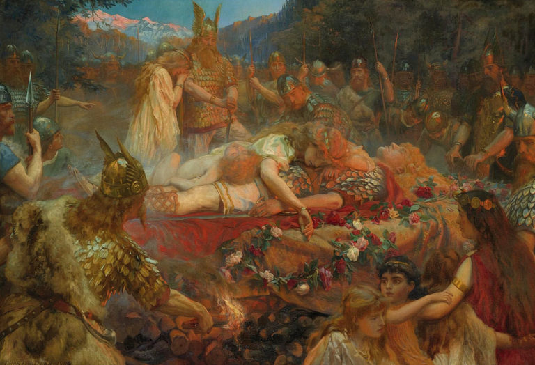 Death of a Viking Warrior   Charles Ernest Butler   oil painting
