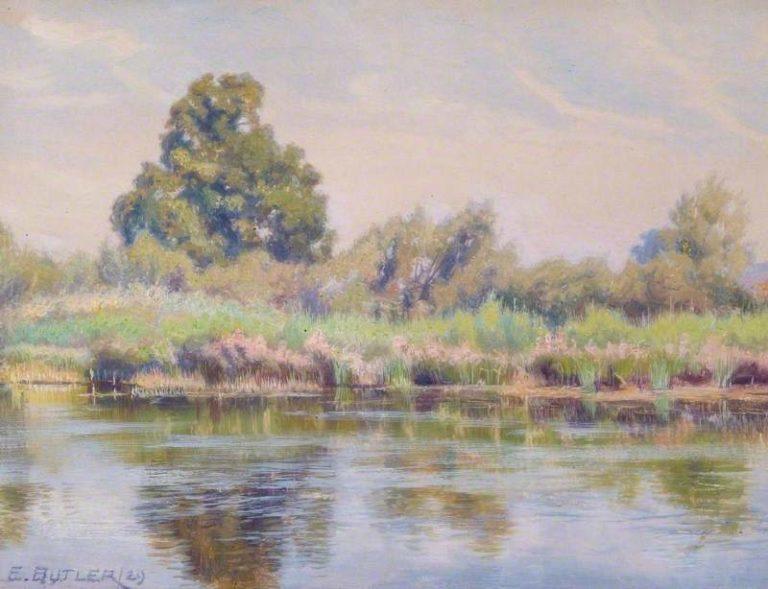 Reeds and Rushes at Tilehurst Reading Berkshire | Charles Ernest Butler | oil painting