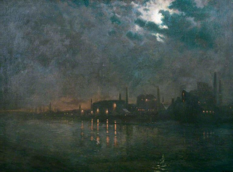 The River Thames from Wandsworth Bridge | Charles Ernest Butler | oil painting