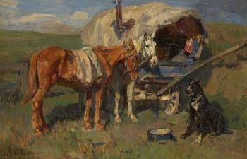 Caravan Company at Rest | Wilhelm Velten | oil painting